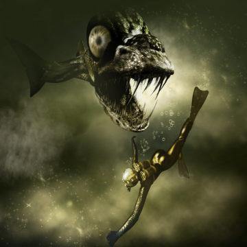 Monster Piranha an Diver