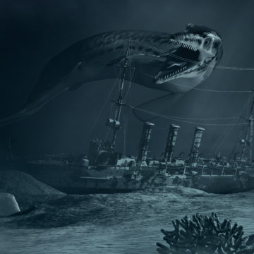 Sea Monster and sunken ship