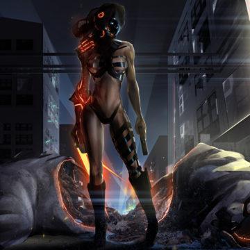 fantasy girl with monster